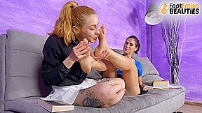Hot lesbians lick and suck each other feet then tongue kiss