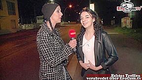 german teen slut ask normal people for sex at street casting