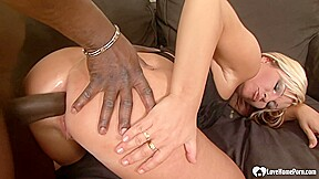 After glass dildo hot blonde woman is having...