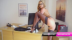 Sexy Secretary Strip Tease With British Pornstar Natalia Forrest