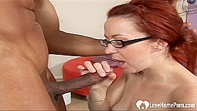 Redhead Challenges Two Big Black Cocks At Once