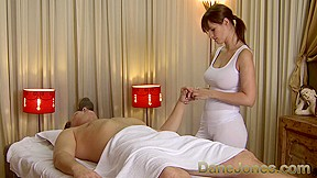 Sexy massage from cute busty brunette woman