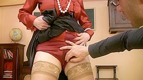 Hot lady teacher with wet panties masturbates very sexy