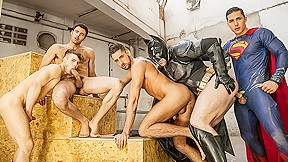 Allen King, Dario Beck, Massimo Piano, Topher Di Maggio, Trenton Ducati in Batman V Superman : A Gay XXX Parody Part 3 - JizzOrgy