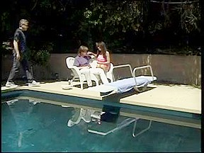 Hawt dark brown hair shaves her plump muff by poolside for fuck