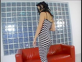 Checkered chick anal screwed on red daybed in apartment