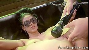 Chained and blindfolded brunette jasmine caro...