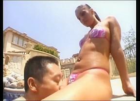 Latin girl the pools...