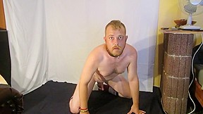 Hot gay bondage puppy slave in long socks...