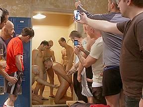 Ex military crowded locker room...