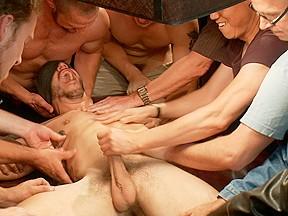 Tickle torment a ripped stud in a public...