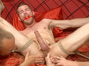 Ripped stud has his cock relentlessly edged after...