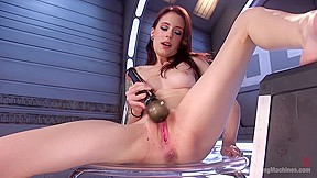 Petite fuck her pussy pounded machines...