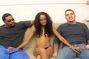 Petite black beauty in interracial 3some...