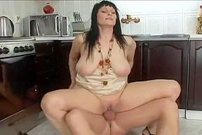 Hot momma merilyn fucks in the kitchen...