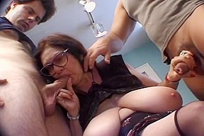Young guys take turns fucking fat granny...