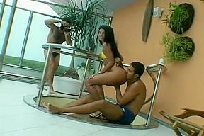 Brazilian skank anal fucked by two studs...