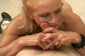 Chubby mature blonde swallows every drop...