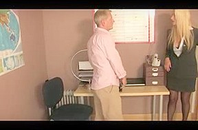 Femdom Office Female-Dominant in Nylons Spanks Paddles Canes