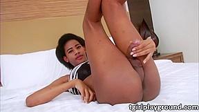Ebony Tgirl Luukmee plays her cock solo