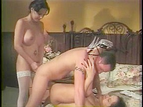 Shemales getting naughty with this horny dude...