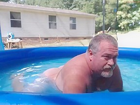 Naked pool dad...