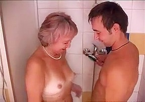 Old   junior - granny and young in shower