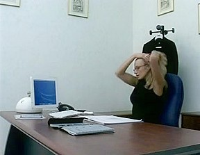 Office anal wearing stockings and glasses.