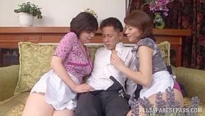 Naughty Japanese AV model and sexy maid share hard cock