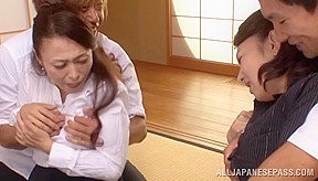 Hot mature Asian chicks get stripped and fucked
