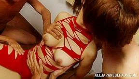 Haruki aoyama asian hottie sucks two cocks...