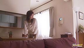Kaori stuffs mouthful of cock and banged hard...