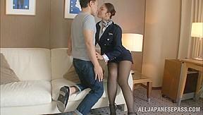 Hot stewardess is an in high heels...