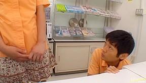 Teen grocery store worker the bathroom...