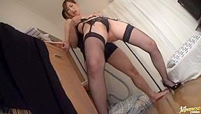 Milf kaori nishio her hot black lingerie...