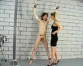 Hardcore BDSM session with cock and ball torture