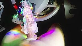 Christmas fleshlight cock milking in my car...