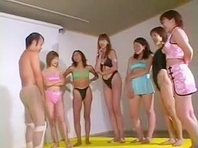Asian piss slave drinking pee from 6 girls...