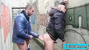 Euro gays rim and finger outdoor ass