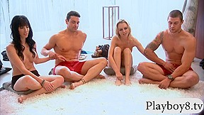 Two playing sex game in topless...