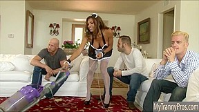 Big tits tranny maid Jessy Dubai double anal while sucking