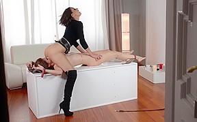 Tall dominatrix tortures her hot slave...