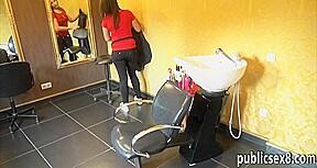 Nasty hairdresser ass her customer...