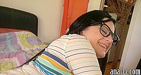 Nerd teen girlfriend anal try out and facialed by her BF