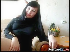 Russian Teen Smokes And Masturbates