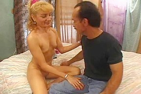 Blonde granny fucks and gets jizz on her tits