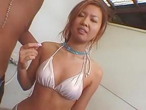 Girl showers outdoor...