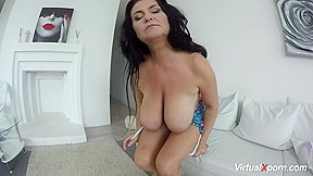 Milf busty reny shows her gigantic boobs at...