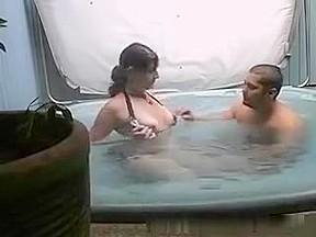 Flashing  immature titties in the tub