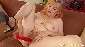 Chubby redhead mom masturbating...